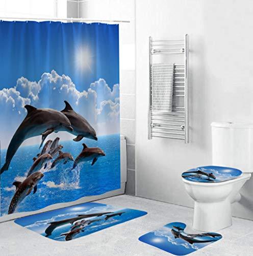 EZEZWSNBB 4-teiliges Badvorleger-Set Blauer Ozean Delphin Duschmatte + Kontur Matte + WC-Deckelbezug + Duschvorhang,rutschfeste Badvorleger,Dusche & Toilette Badezimmerteppich