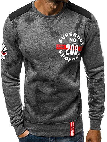 OZONEE Herren Sweatshirt Pullover Langarm Farbvarianten Langarmshirt Pulli ohne Kapuze Baumwolle Baumwollemischung Classic Motiv Rundhals-Ausschnitt Sport 777/001B DUNKELGRAU L