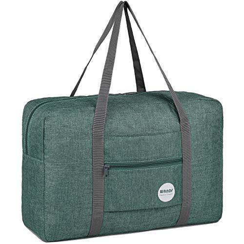 WANDF Leichter Faltbare Reise-Gepäck Handgepäck Duffel Taschen Übernachtung Taschen/Sporttasche für Reisen Sport Gym Urlaub Weekender handgepaeck (A - Kationisches Grün)