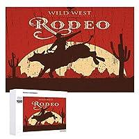 Bull Riding Wlid West Rodeo 木製パズル大人の贈り物子供の誕生日プレゼント(50x75cm)1000ピースのパズル