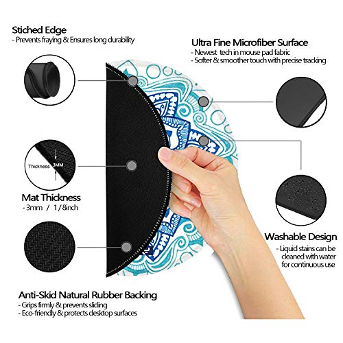LESHIRY Mouse Pad, Cute Circular Mousepad with Design, Beautiful Parttern Mouse Pads with Stitched Edge, 7.9X7.9 Inch Small Mouse Mat for Laptop and Computer (Mandala 14) Photo #3