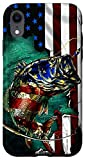 iPhone XR Bass Fishing American Flag Funny Fisherman Gift Case