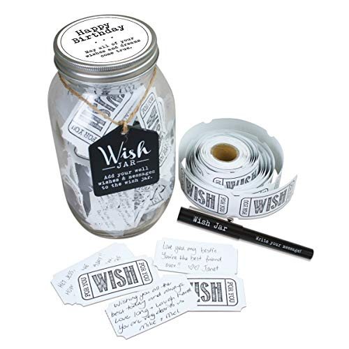 TOP SHELF Happy Birthday Wish Jar Kit with 100 Tickets, Pen,...