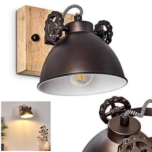 Wandleuchte Svanfolk, Wandlampe aus Metall und Holz in Schwarz-Braun/Natur, 1-flammig, mit verstellbarem Strahler, 1 x E14-Fassung, max. 40 Watt, Retro/Vintage Design