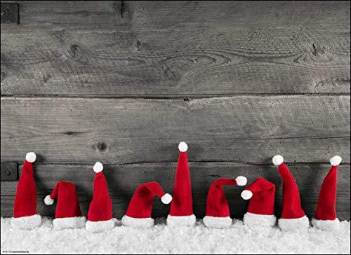 Tischsets I Platzsets - Lustige weihnachtliche rote Zipfelmützen im Schnee - 12 Stück in Aufbewahrungsmappe - Die besondere Tischdekoration für die Adventszeit, Weihnachten und Jede Weihnachtsfeier