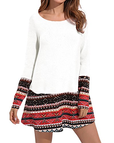 CNFIO Mujer Vestido Bolsillo Cuello Redondo Manga Larga Plus Tamaño Tops Moda