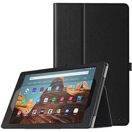 TiMOVO Smart Cover per Nuovo Kindle Fire HD 10 Tablet (7th Gen 2017 e 9th Gen 2019) - Custodia Pieghevole Funzione a Piedi con Anello per Penna per Nuovo Fire HD 10, Nero