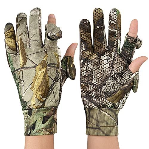 Durio Hunting Gloves Finger/Fingerless Hunting Gloves for Men Women Anti-Slip Lightweight Camo Gloves Outdoors Camouflage Large