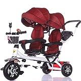 ZJJ Sillas de Paseo Cochecito de bebé, Cochecito de bebé, Carro de Viaje Triciclo Doble for niños Carro de bebé Gemelo Cochecito Grande Toldo extendido Carritos y sillas de Paseo (Color : G)