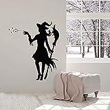 Calcomanía de pared Magia con escoba Cuento de hadas Chicas mágicas Vinilo Etiqueta de la ventana Decoración del hogar para niños Dormitorio Nursery Mural-42x49 cm