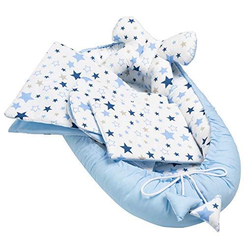 Solvera_Ltd 5tlg. Baby Ausstattung-Set inkl Babynest 90x50 herausnehmbarer Einsatz Flachkissen Krabbledecke Schmeterrling-Kissen für Babys 100% Baumwolle (Milkyway blau)