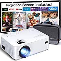 Apeman LC400 5000-Lumens LCD Portable 1080p Mini Projector Compatible with HDMI, PS4, TV Stick, VGA, TF, AV, USB Drive Including Carry Bag and 100 Inch Screen