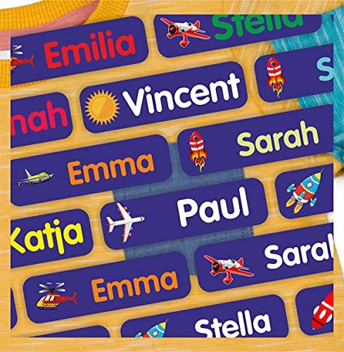 INDIGOS UG® Bügeletiketten Textilien Aufbügler - 51x7 mm - 10-1000 Stück für Kinder, Schule und Kindergarten - Wäscheschilder Namensschilder - Namensaufbügler