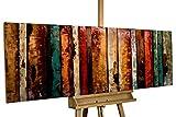 Kunstloft Extravagante Relieve de Pared de Metal Flashy Wood' 150x50x5cm | Decoración XXL Escultura | Abstracto Colorido Madera | Cuadro Hecho a Mano Imagen Mural de Arte Moderno