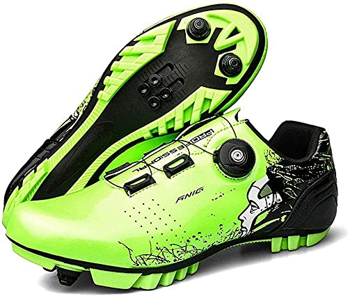 CHUIKUAJ Scarpe da Ciclismo Uomo Donna SPD MTB Ideali per Mountain Cyclo Cross Country XC Bikes Incluse,Green-41EU