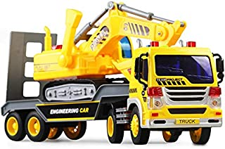 FEROXO Friction Powered Flatbed Truck with Excavator Tractor Toy - Push and Go Construction Truck Toy and Construction Toy for Boys Girls, Realistic Push & Pull Friction Truck with Lights Sounds