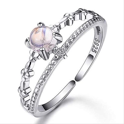 IWINO 100% zilver 925 ringen vrouwelijk eenvoudige fashion verlovingsring met natuurlijke maansteen edelsteen-fijn sieradencadeau
