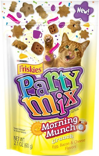 Purina Friskies Party Mix - Morning Munch Crunch - Egg, Bacon, Cheese Flavors 2.1 Ounces (Pack of 3)