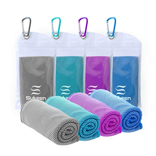 Sukeen [4 Pack] Cooling Towel (40'x12'),Ice Towel,Soft Breathable Chilly Towel,Microfiber Towel for Yoga,Sport,Running,Gym,Workout,Camping,Fitness,Workout & More Activities