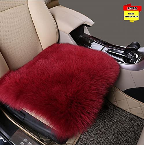 Sisha-A Funda de cojín de piel de oveja para asiento de coche, de lana natural, universal, ajuste para la mayoría de coches, camiones, todoterrenos o furgonetas, color rojo vino