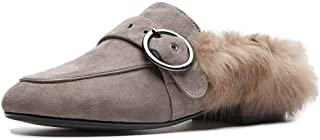 Comfortable and Beautiful Slippers for Women Fuzzy Shoes Adjustable Round Buckle Band Upper Round Toe Inner Plush Flat Suede Outdoor Mules Slip On wpcwl Shoes jhduej (Color : Khaki, Size : 38 EU)