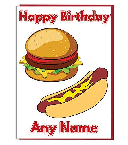 Comida de barbacoa personalizado tarjeta de cumpleaños–cualquier nombre y edad impreso en la parte delantera