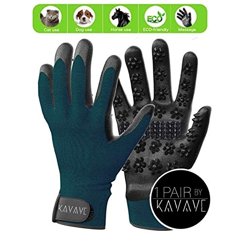 PetWish Fellpflege-Handschuhe – Lange Kurze Haarentferner Bürste für kleine, mittelgroße und große Hunde, Katzen, Pferde – Entfärben-Werkzeug für Zwei Hände