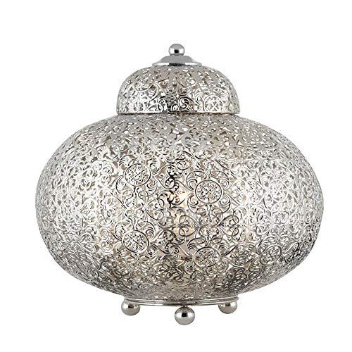 Lámpara de mesa Fretwork, níquel brillante chapado en níquel