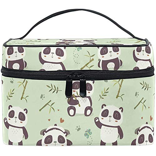 Trousse de Maquillage Cartoon Pan_da Bamboo Travel Cosmetic Bags Organizer Train Case Toiletry Make Up Pouch