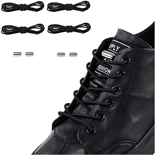 zenlete 2 Paar Elastische Schnürsenkel mit Metallkapsel-Verschluss - Einstellbare Gummi Schuhbänder Ohne Binden für Kinder, Sport, Senioren, Triathlon - Schnellverschluss Schnellschnürsystem