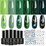 MEFA Gel Nail Polish Set with Stickers 6 Colors Green Summer Pine Glitter Gel Soak Off Nail Polish Varnish Manicure Tools Forest Breeze Collection Salon At Home Holiday Hiking 5ML DIY Gift for Woman