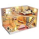 XXSHN Casa de muñecas Mini casa de muñecas de Bricolaje de Madera con Muebles Casa de muñecas de Bricolaje Set de Regalos para niños (con Polvo) (Color: Multicolor, Tamaño: 17 * 27 * 17CM)