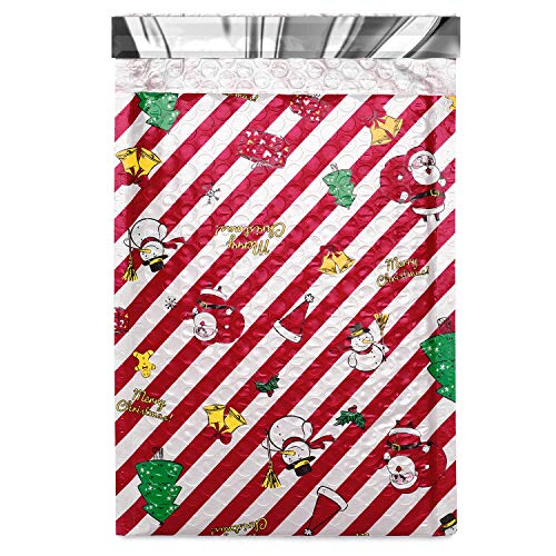 Fuxury Fu Global #0 6x10 Inches Christmas Poly Bubble Mailers Designer Boutique Custom Padded Envelopes High-Grade Pearlescent Red and White Striped Pack of 25