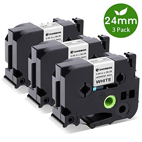 COLORWING kompatibel schriftband Ersatz für Brother P-touch TZe-251 24mm TZE251 TZ 251 für Brother P-Touch D600 P700 D600VP P710BT E500VP Label Makers, schwarz auf weiß 3x
