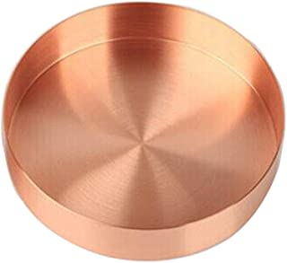 Round Metal Plate Drinks Serving Trays Copper Tray 14mm