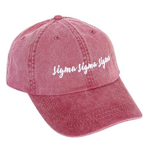 Desert Cactus Sigma Sigma Sigma (N) Baseballmütze, kursives Namen-Schriftzug, Tri-Sigma - Rot - Medium