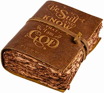 Bible Journal Psalm 46v10 Embossed Bible Inscription Leather Bound Journal Leather Journal Writing product image