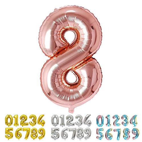 Ponmoo Foil Globo Número 8 Oro Rosa, Gigante Numeros 0 1 2 3 4 5 6 7 8 9 10-19 20-29 30 40 50 60 70 80 90 100, Grande Globos para La Boda Aniversario, Globo de Cumpleaños Fiesta Decoración