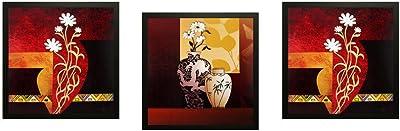 SAF Flower Textured UV Print Painting(Set of 3, 30 cm x 2 cm x 30 cm) SANFD152