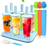 Ice Lolly Moulds, MMTX 10 Pack Molds Set, Ice Lolly Makers, Ice Cream Reusable Silicone DIY Frozon Popsicle Moulds for Kids,Toddlers and Adults with Non-Spill Lid Cleaning Brush (Blue2)