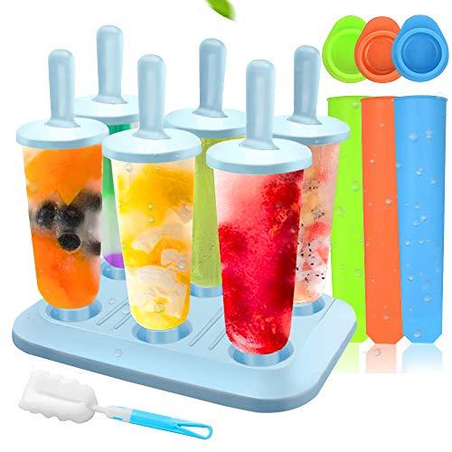 MMTX Popsicle Stampi, 10 Pacchi Ice Cream Stampi Set Ilicone Riutilizzabili Set Homemade DIY Ice Pop Lolly Frozen Yogurt Bar Ideale Per La Preparazione di Ghiaccioli, Gelati, Sorbetti (blu)