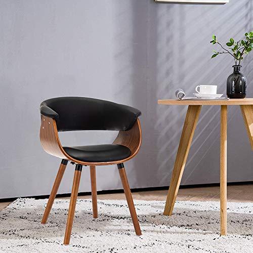 Mingone Armlehnen Retro Esszimmerstühle Leder und Massivholz Beine Küchenstühle Büro Computer Stühle(Schwarz)