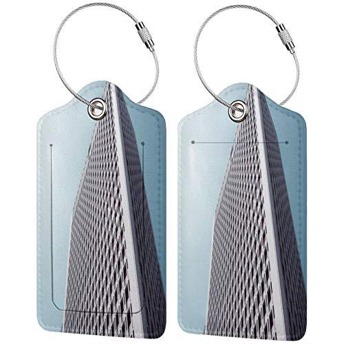 FULIYA Etiquetas para equipaje de viaje, para tarjetas de visita, juego de 2, edificio, fachada, vista inferior, minimalismo