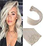 LaaVoo 14 Pouce 7Pcs/120g Real Naturel Extensions de Cheveux Humains a Clips Blond Platine 35cm Easy Fit Extension Cheveux Naturel a Clip