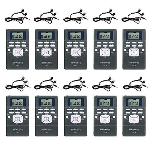 Retekess PR13 Draadloze Ontvanger Adapter FM-radio met Hoofdtelefoon voor Vergadering Simultane Vertaling Reisladder Team (10 stuks)
