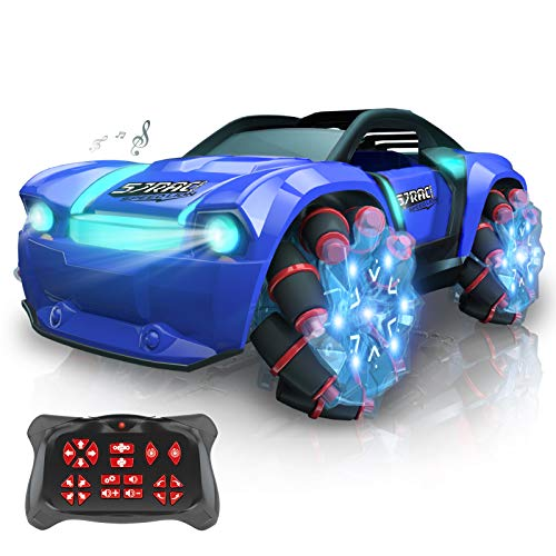 Fcoreey RC Cars, 360° Rotation Stunt Remote Control Car,1:16 Scale Cool Light & Misic Drift Car,2.4GHz Monster Truck with 2 Batteries for 50+ Min Play,Toy Cars for Boys Girls Kids Teens & Adults Gifts