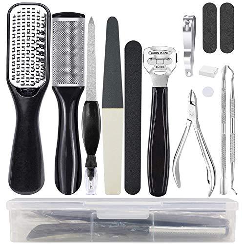 Comius Sharp Juego de herramientas de pedicura profesional de 15 piezas, juego de herramientas de piel muerta para pies limpios y pieles limpias de callos para salón o hogar