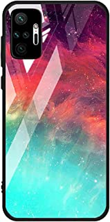 For Xiaomi Redmi Note 10 Pro / Redmi Note 10 Pro Max Case marble pattern tempered glass Back Cover (Green & Pink)