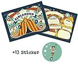 12 Einladungskarten Zirkus zum Kindergeburtstag + 13 Sticker GRATIS - für Jungen und...