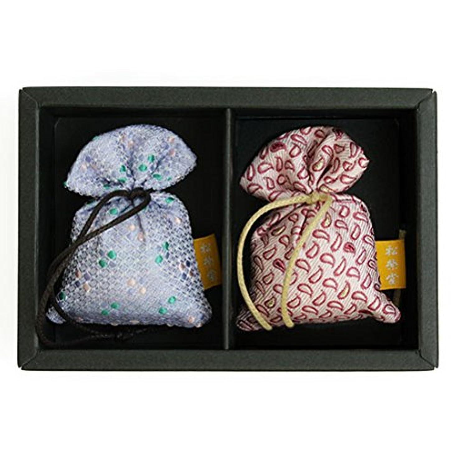 カビメダル試してみる匂い袋 誰が袖 薫 かおる 2個入 松栄堂 Shoyeido 本体長さ60mm (色?柄は選べません)
